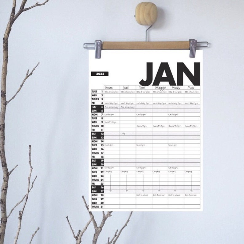 2022 Family Organiser  free delivery  2022 Calendar  2022 image 1