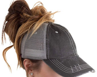Custom Messy Bun Hat   High Ponytail Distressed Black and Grey Trucker Hat  or Messy Bun High Ponytail   Cap 5df0b3a8924d