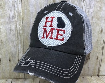 77af8cc3918 Georgia Home Embroidered Grey and White Arrows Raggy Patch Distressed Black  and Grey Trucker Hat or Messy Bun Ponytail Cap