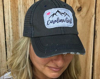 Pink and White South SC Carolina Girl Distressed Style Cap Hat