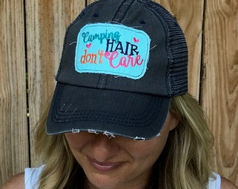 Camping Hair Don't Care Embroidered Aqua and White Polka Dot Raggy Patch Distressed Dark Grey and Navy Trucker Hat / Cap
