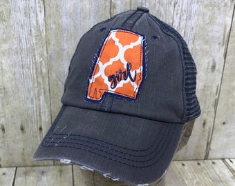 1ade0dbbb9de9 Alabama State   City of Auburn   Girl   Embroidered Orange and White Raggy  Patch Distressed Dark Grey and Navy Trucker Hat Or Messy Bun Cap