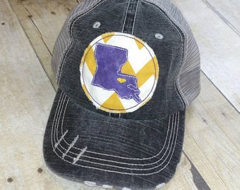 Baton Rouge Louisiana   State   Home Yellow and White Chevron Raggy Patch  Distressed Black and Grey Trucker Hat or Messy Bun Ponytail Cap 4caa9bddf04f