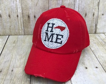 2264be0a3f2af North Carolina Home   North Carolina State Embroidered Grey and White  Arrows Raggy Patch Distressed Red Baseball Cap   Trucker Hat