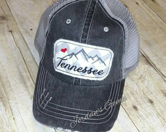 Tennessee Smoky Mountains  Love Embroidered Grey and White Chevron Raggy  Patch Distressed Black and Grey Trucker Hat  Messy Bun Ponytail Cap dc558a9f7c21