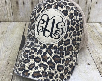 ec5e91d4389ce Custom Embroidered Monogramed Raggy Patch Distressed Leopard Print Trucker  Hat Or Messy Bun   High Ponytail Cap