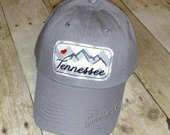 c1ffe7a3418 Tennessee Smoky Mountains Embroidered Grey and White Chevron Raggy Patch  Solid Grey Baseball Cap Hat - Smokies Strong