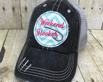 28f9ba03af815 Weekend Hooker   Fish Hook   Embroidered Aqua and White Chevron Raggy Patch  Distressed Black and Grey Trucker Hat Or Messy Bun Ponytail Cap