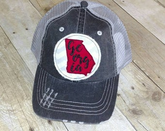 ea0fe38bd4c State of Georgia Embroidered Raggy Patch Distressed Trucker Hat Or Messy  Bun   High Ponytail Hat Or Solid Grey Baseball Cap