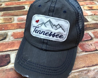 5ba1af63 Tennessee Smoky Mountains Embroidered Raggy Patch Distressed Dark Grey and  Navy Trucker Hat or Messy Bun / High Ponytail Cap Smokies Strong