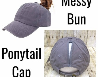 6f95985a5a1e1 Custom Messy Bun   High Ponytail Grey Baseball Cap   Hat