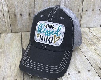 efe16916 One Blessed Mimi Embroidered Grey and White Chevron Distressed Black and  Grey Trucker Hat Or Messy Bun Ponytail Or Solid Grey Baseball Cap