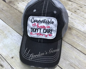 f4eccbbb3e0 Convertible Hair Don t Care Embroidered Grey   White Chevron Raggy Patch  Distressed Black and Grey Trucker Hat or Messy Bun Ponytail Cap