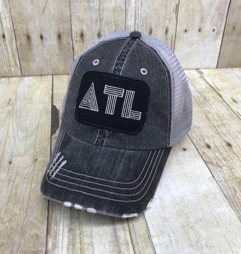 bbb617758 ATL Georgia / Atlanta Retro Love Embroidered Grey & White Chevron Raggy  Patch Distressed Black and Grey Trucker Hat /Messy Bun Ponytail Cap