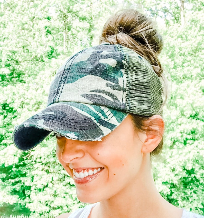 Messy Bun Hat//High Ponytail Distressed Camo Trucker Hat or Messy Bun High Ponytail//Cap