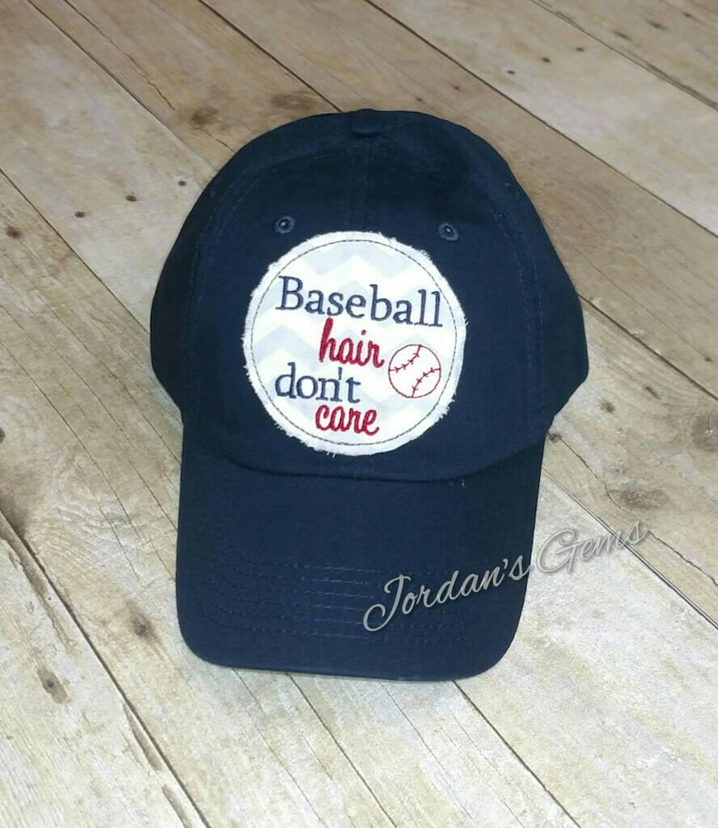 0a76fd368 Baseball Hair Don't Care Embroidered Grey and White | Etsy