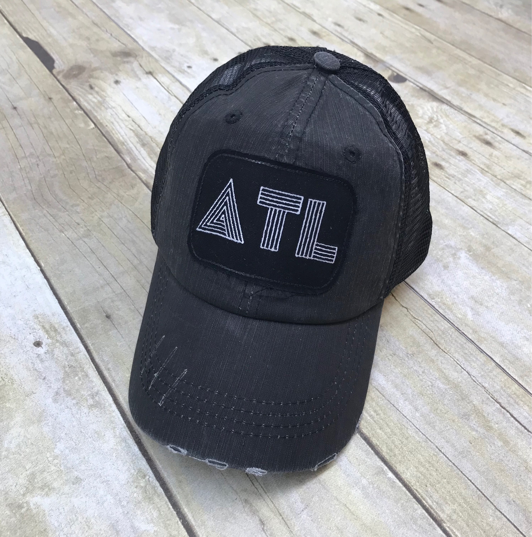 854e1461719 ATL Atlanta   Retro Black   Embroidered Raggy Patch Distressed