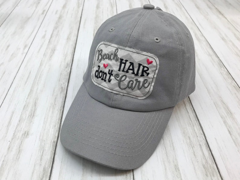07d6c732c Beach Hair Don't Care Embroidered Raggy Patch Solid Grey | Etsy