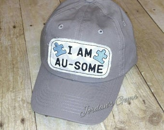 Youth Size I Am Au-some Puzzle Piece Autism Awareness Grey or Black Baseball  Cap Hat
