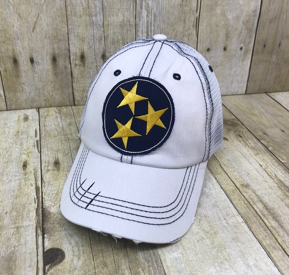 Tennessee Tristar Nashville Embroidered Blue and Gold Raggy Patch  Distressed White and Navy Trucker Hat or Messy Bun High Ponytail Cap