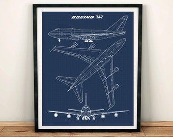 Blueprint art etsy 747 blueprint art jumbo jet blueprint art instant download boeing 747 wall art printable art blue print aviation decor 8x10 11x14 malvernweather Choice Image