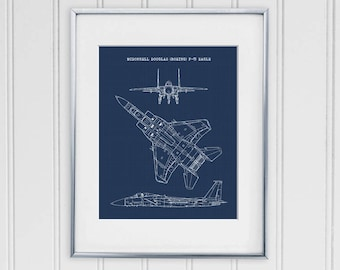 Airplane blueprint etsy f 15 eagle blueprint f15 eagle art instant download f 15 aircraft art air force decor aviation wall art 8x10 11x14 malvernweather Images
