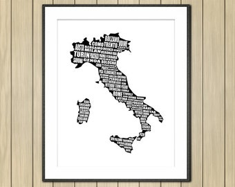 Italy Map Wall Art.Map Of Italy Italy Map Italian Cities Typography Map Wall Etsy
