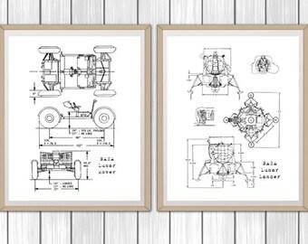 Spaceship blueprint etsy nasa blueprints lunar rover and lunar lander set of 2 blueprints blueprint decor instant download blueprint art nasa 8x10 11x14 malvernweather Gallery