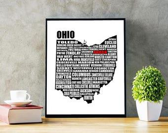 Map of Ohio Ohio State Map Instant Download Ohio Cities / | Etsy
