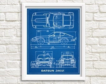 Blueprints etsy datsun 280z blueprint decor 280z blueprint art datsun 280z instant download datsun blueprints datsun wall art 8x10 11x14 malvernweather Image collections