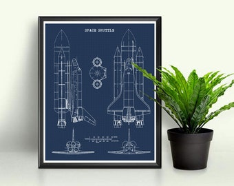 Blueprint art etsy shuttle blueprint space shuttle decor blueprint art instant download science art nasa rocket wall art space art 8x10 11x14 malvernweather Gallery