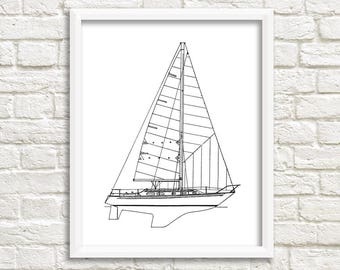 Sailboat blueprint nautical decor boat blueprint sailing etsy sailboat wall art nautical decor boat blueprint sailboat instant download nautical art sailboat blueprint blueprint art 8x10 11x14 malvernweather Gallery