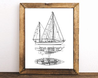 Sailboat art etsy sailboat blueprint nautical decor printable art blueprint art instant download sailboat blueprint decor 8x10 11x14 malvernweather Gallery