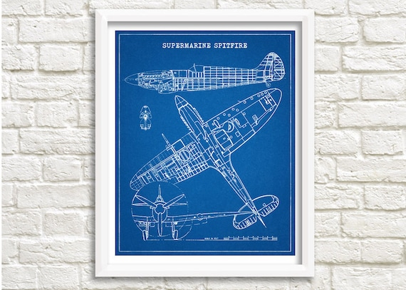 Spitfire Blueprint Decor Aircraft Etsyrhetsy: Spitfire Airplane Schematics Or Drawings At Gmaili.net