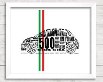 """Fiat 500 Wall Art, Fiat 500, New Fiat 500, Fiat Decor, Fiat Abarth, Fiat, Car Art, Instant Download, Fiat 500 Gifts, 8x10, 11x14"""""""