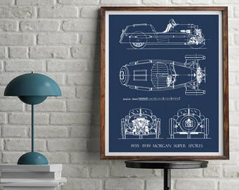 Car blueprint etsy morgan 3 wheeler blueprint morgan car blueprint art morgan super sports blueprints malvernweather Gallery