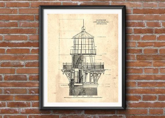 Lighthouse wall art nautical decor blueprint art instant etsy image 0 malvernweather Image collections