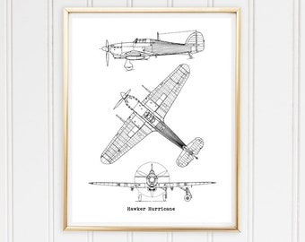 Airplane blueprint etsy hurricane airplane blueprint malvernweather Gallery