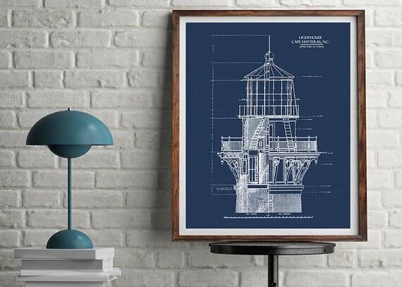 Lighthouse blueprint blueprint art download nautical decor etsy malvernweather Gallery