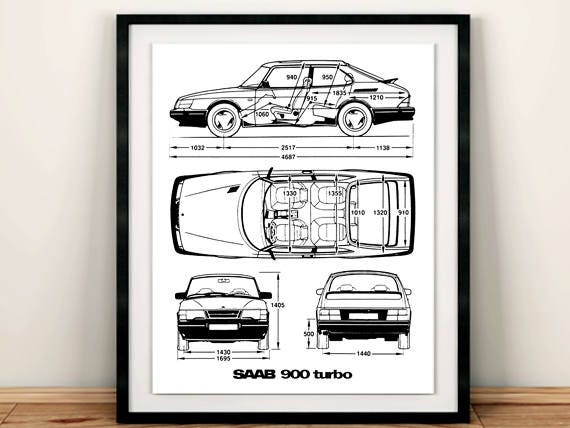 Saab 900 turbo blueprint saab 900 decor blueprint art etsy image 0 malvernweather Gallery