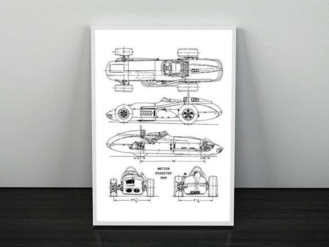 Race car blueprint automotive blueprint blueprint art etsy image 0 malvernweather Choice Image