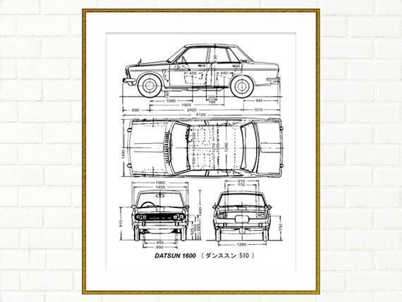 Datsun 1600 4 door blueprint datsun 510 blueprint art etsy image 0 malvernweather Gallery