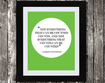 """Albert Einstein Quote, Printable Art, Quote Art, Not Everything Can Be Counted, Wall Art, Einstein Quote, Motivational Quote, 8x10"""""""