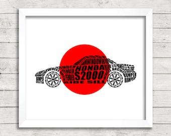"Honda S2000, Japanese Flag, Honda S2000 Sign, Honda Rising Sun, Automotive Decor, Instant Download, Honda S2000 Decor, 8x10"", 14x11"", 16x20"""