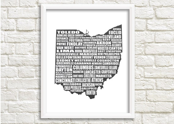 Map of Ohio, Ohio State Map, Instant Download, Ohio Cities / Towns, Ohio  Gifts, Ohio Wall Art, Chalkboard background Map, 8x10\