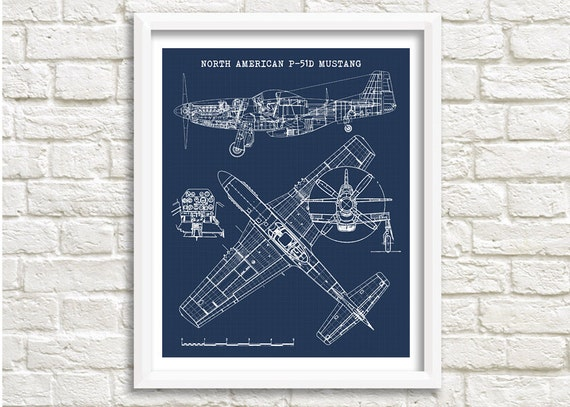 P 51 mustang blueprint p51 mustang art instant download etsy image 0 malvernweather Images
