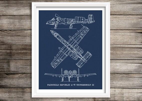 A 10 thunderbolt art aircraft blueprint blueprint decor malvernweather Images