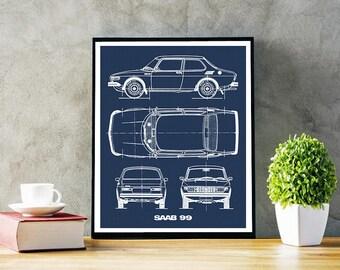 "Saab 99 Blueprint, Saab 99, Blueprint Art, Instant Download, Saab Gifts, Blueprints, Saab Decor, Saab 99, Retro Wall Art, 5x7, 8x10, 11x14"""