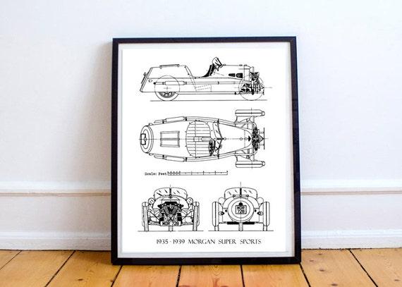 Morgan 3 wheeler blueprint morgan car blueprint art etsy image 0 malvernweather Gallery