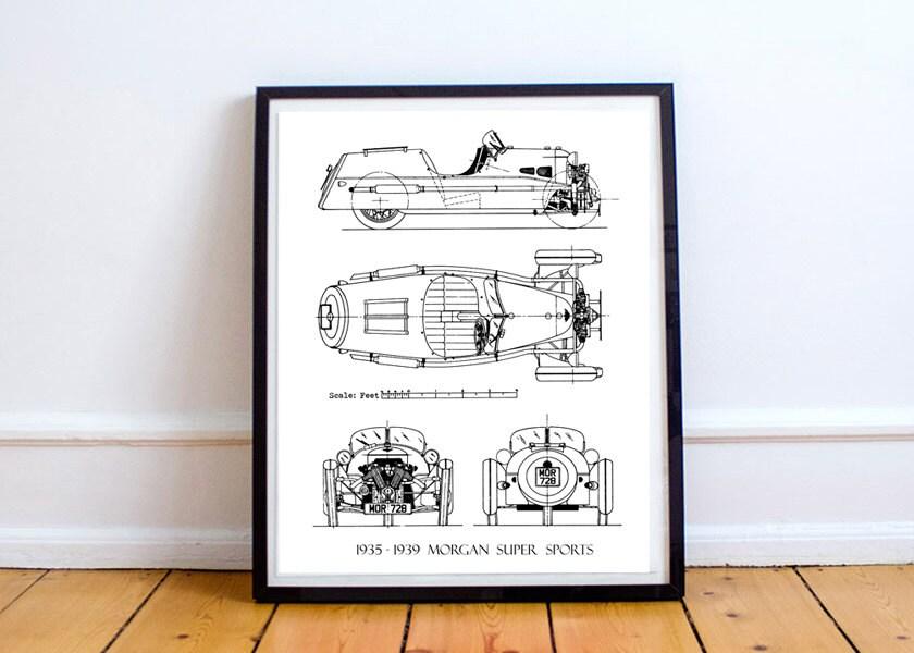 Morgan 3-Wheeler Blaupause Morgan Auto Blueprint Kunst